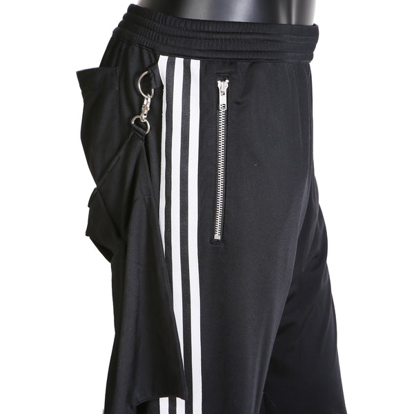 Track Pants with Buckles and Detachable Back Flap