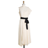 Cream Cotton Dress with Pleated Tulle and Black Satin Belt