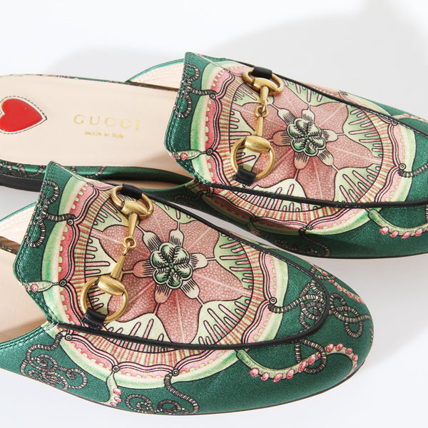 Gucci Printed Satin Mule