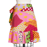 Polka Dot Patchwork Wrap Skirt