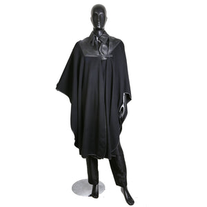 Black Wool Cape with Leather Collar, circa late 1970s / early 1980s
