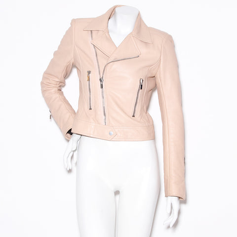 Balenciaga blush leather jacket