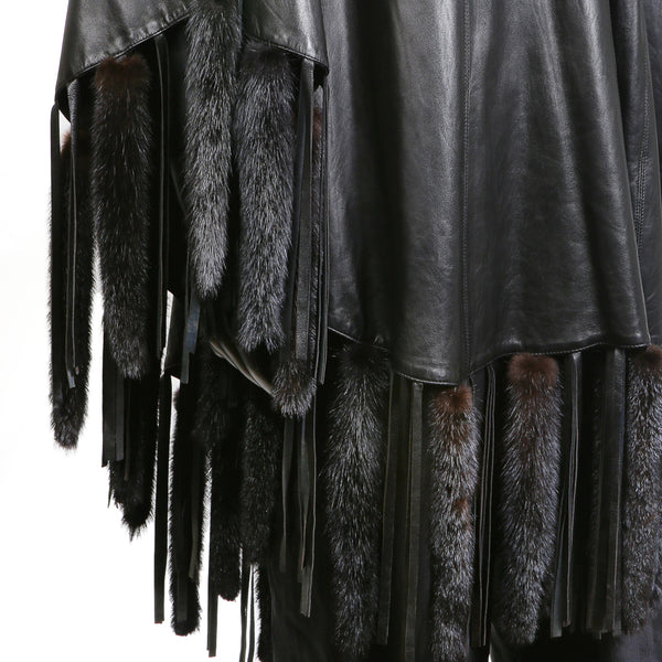 Black Leather Cape with Mink Tails, late 1970s / early 1980s