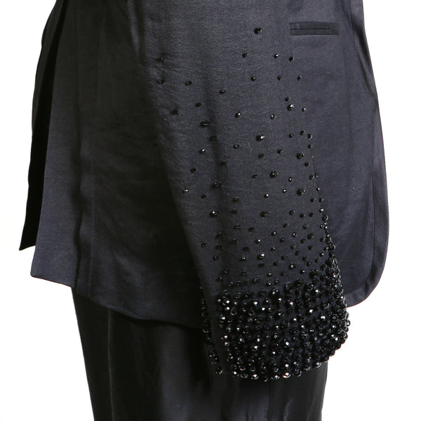 Black Waistcoat with Ombre Beaded Cuffs and Inner Attached Vest, Spring 2011