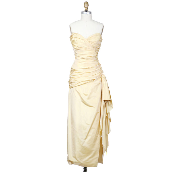 Gathered Silk Strapless Dress circa 1960s – Decades Inc.