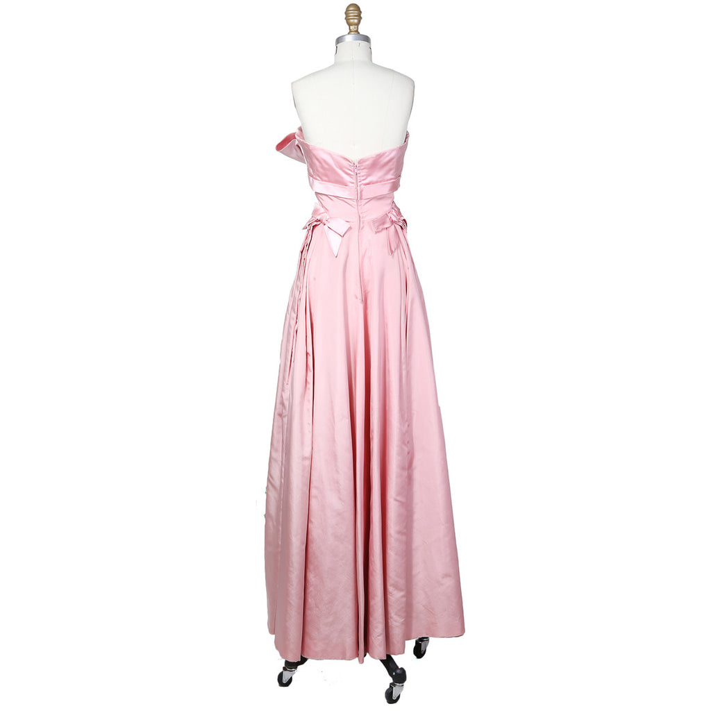 Satin Strapless Ball Gown with Bow Detail circa 1950s