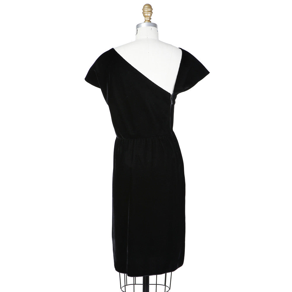Haute Couture Asymmetrical Velvet Dress circa 1980s
