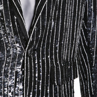 Striped Black and White Sequins Jacket