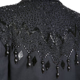 Black Beaded Spencer Jacket with Beaded Shoulders