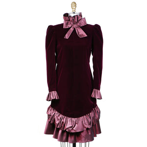 Haute Couture Velvet and Ruffle Dress