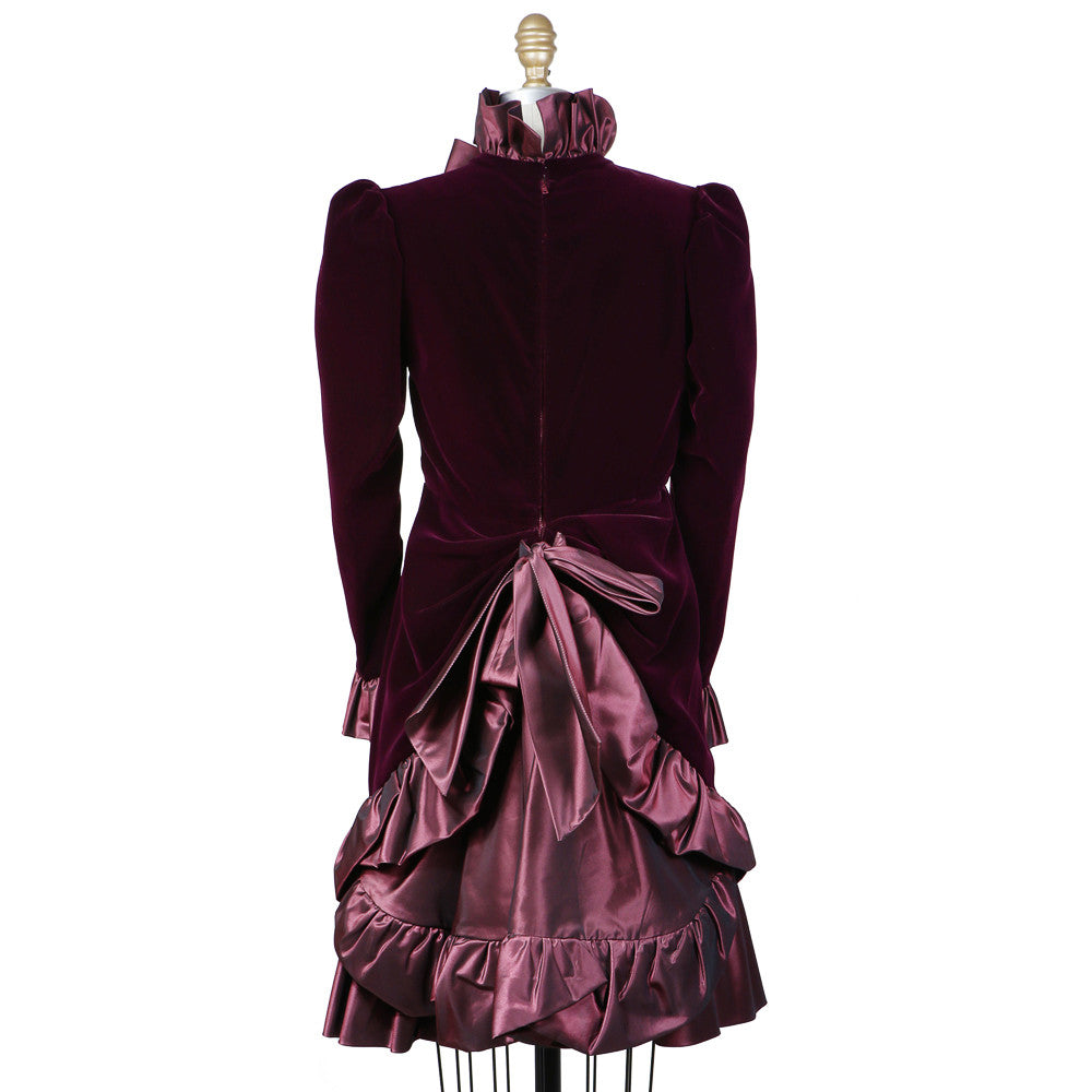 Haute Couture Velvet and Ruffle Dress circa 1980s