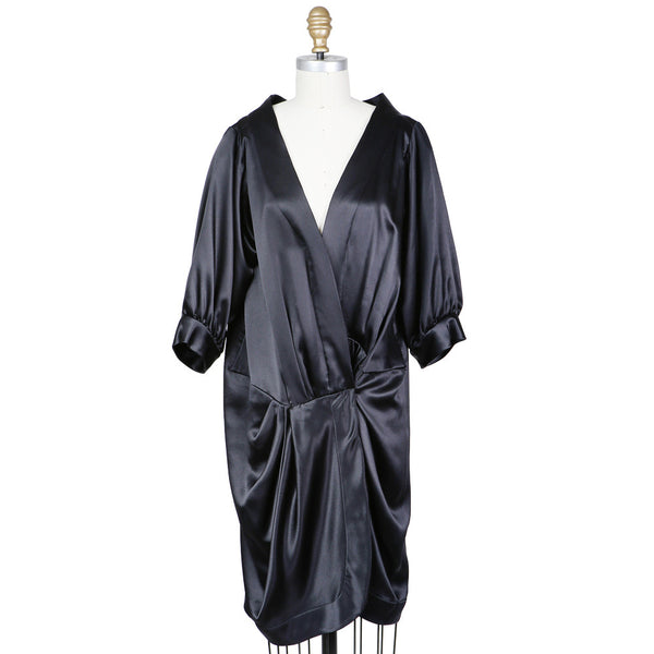 Haute Couture Satin Tuxedo Dress circa 1980s