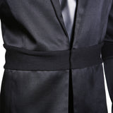 Black Silk and Wool Blazer with Banding Detail