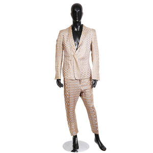 Suit with Oscillating Checkered Pattern in Gold and Grey