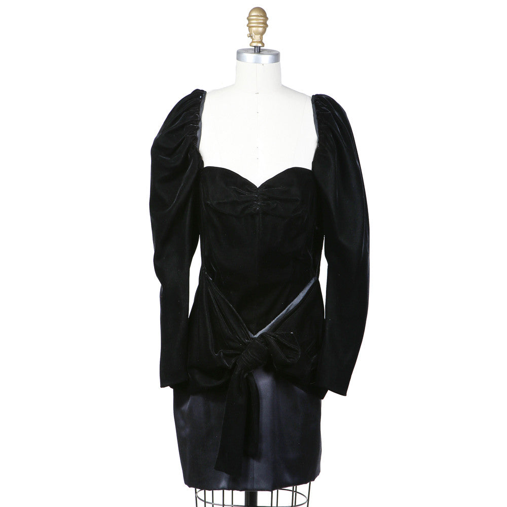 Haute Couture Velvet and Silk Dress circa 1980s
