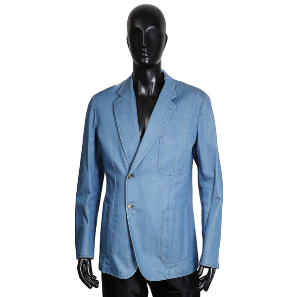 Light Blue Denim Blazer with Offset Single Breast Closure