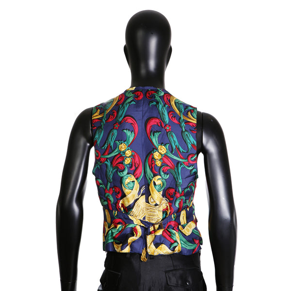 Graphic Print Silk Vest