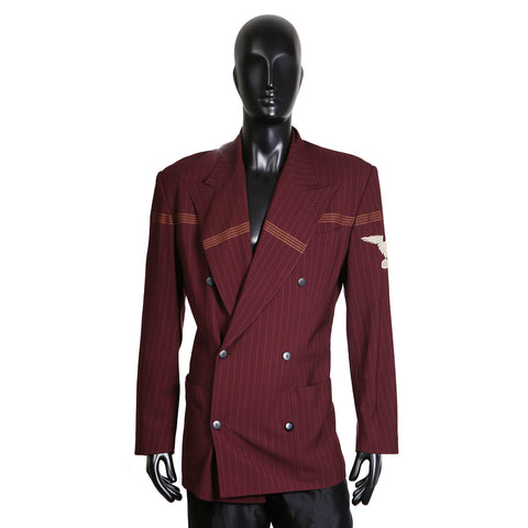 Burgundy Pin Stripe Military Jacket