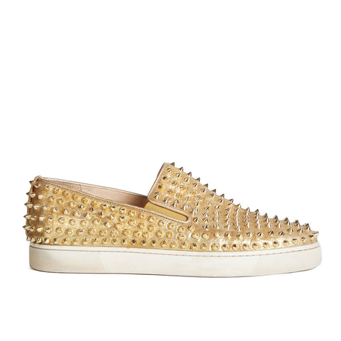 """Roller Boat"" Studded Slip Ons in Gold Leather"