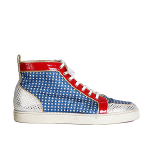 """Superball"" Metallic Red, White, and Blue Hi-Top Sneakers"