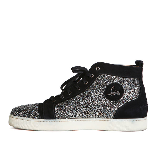 """Louis Strass"" Black Suede and Pebbled Metallic Hi-Top Sneaker"