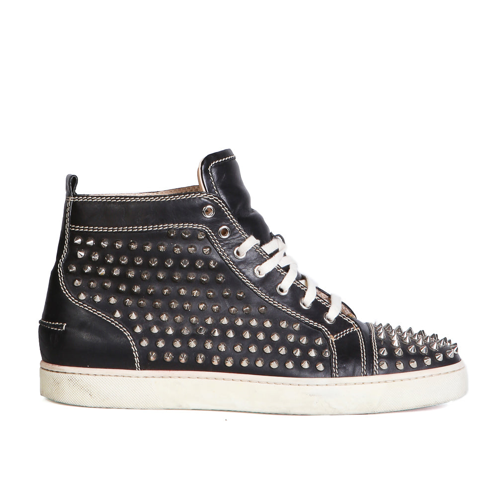 Spiked Black Leather Hi-Top Sneakers