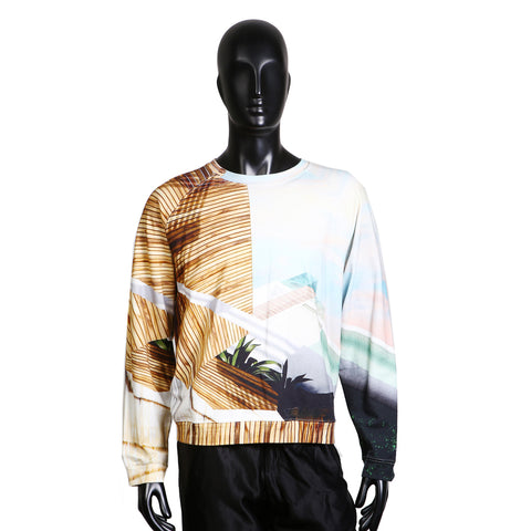 Abstract Tropical Print Crew Neck Sweatshirt