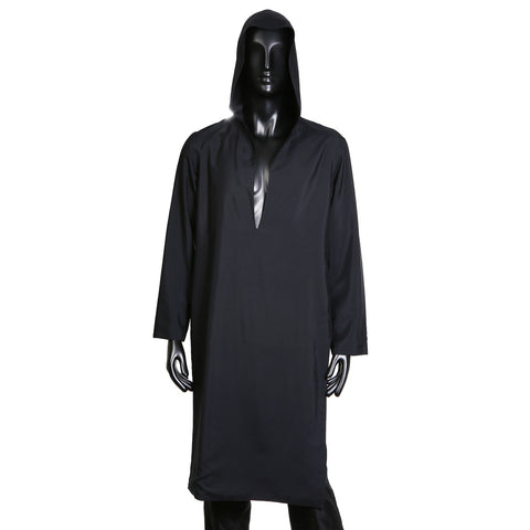 Hooded Silk Blend Tunic in Black