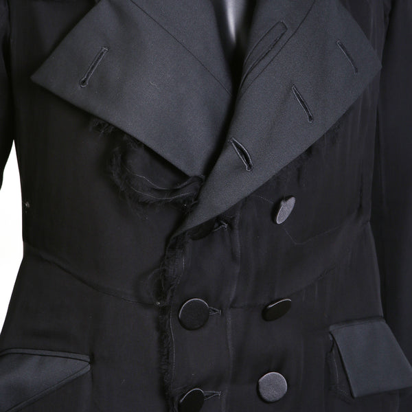 Distressed Black Silk Chiffon Overlay Tail Coat