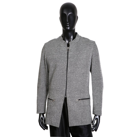 Wool Zip-Up Jacket with Circular Metal Zipper Pulls