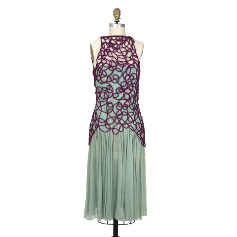 Vintage Dress in Mint Green Silk with Purple Netting
