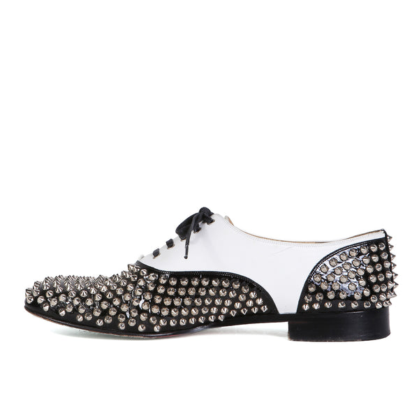 """Freddy"" Black and White Spiked Oxfords"