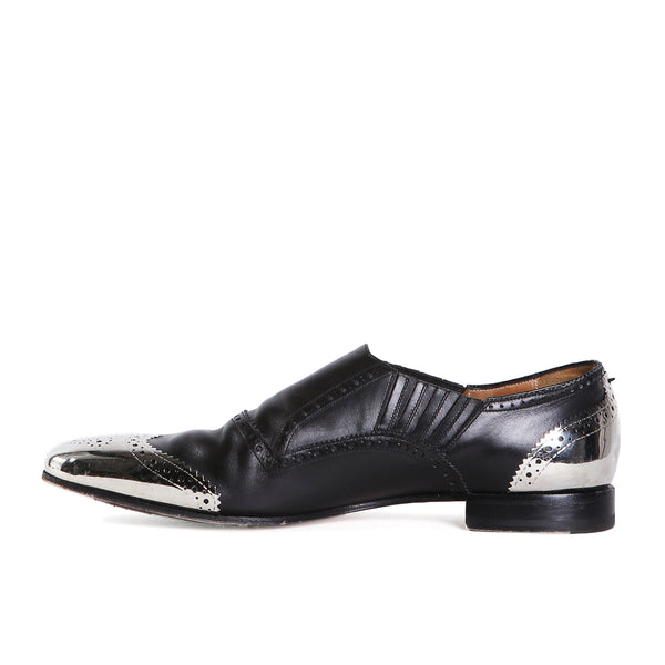 Black Leather and Silver Metal Toe Wingtip Loafers