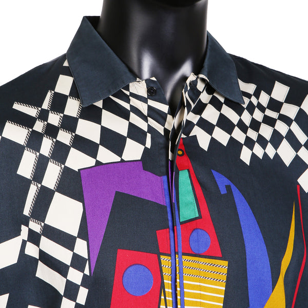 Multi Graphic Print Button Up Shirt
