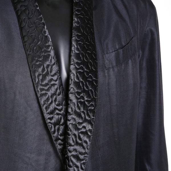 Black Tailcoat Lined with Satin Squiggle Quilting