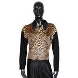 Faux Leopard Snap Front Collared Cardigan