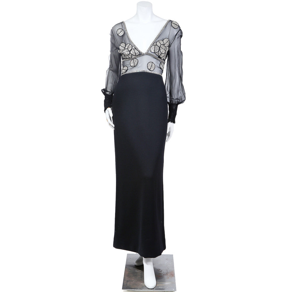 Vintage Beaded Chiffon and Wool Gown circa 1960s