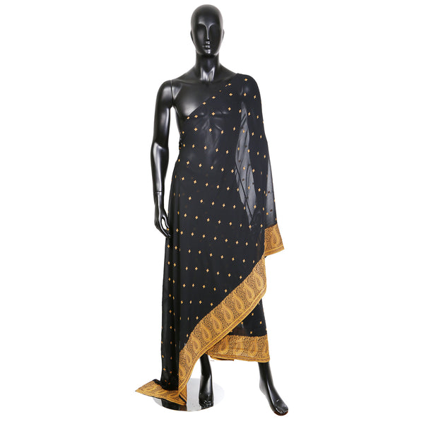 Black Mesh Sari with Ornate Embroidery and Gold Trim