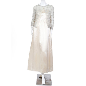 2ec95c4bda0 Vintage Satin Dress with Rhinestone and Sequin Detailed Cardigan ...
