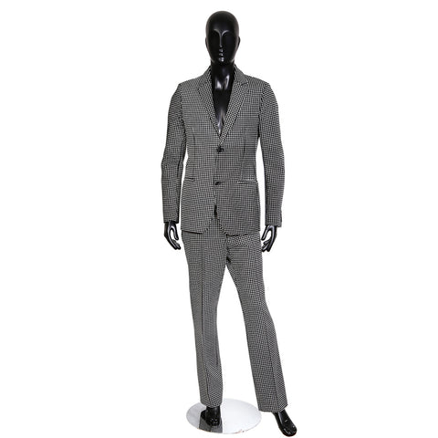 Black Wool and Cashmere Suit with White Silk Screened Check Pattern