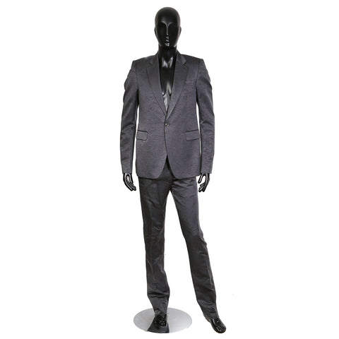 Dark Shadow Marbled Grey Silk Faille Suit