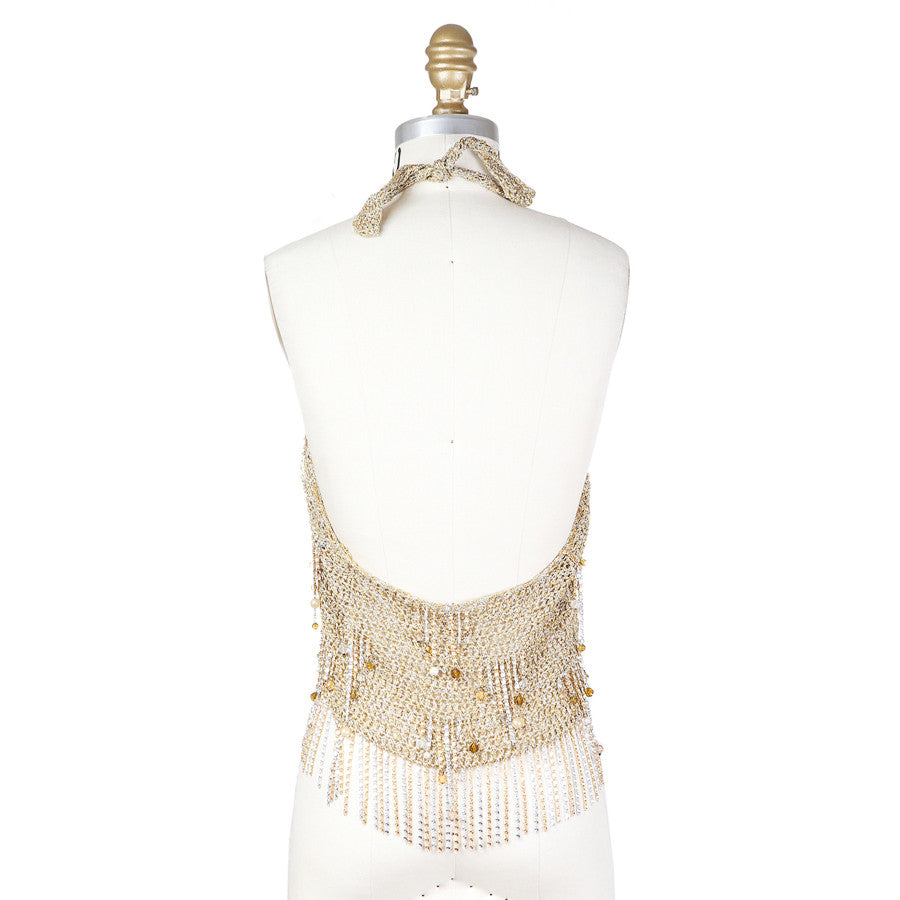 Gold Metallic Knit Halter Top with Beaded Fringe