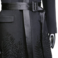 Cashmere Coat with Satin Trapunto Stitched Collar and Beaded Leaf Motif, Fall 2007