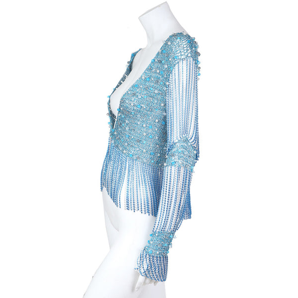 Metallic Knit and Beaded Fringe Top
