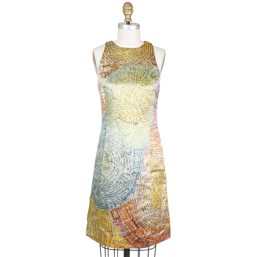 A Line Dress with Multicolor Circular Scroll Print