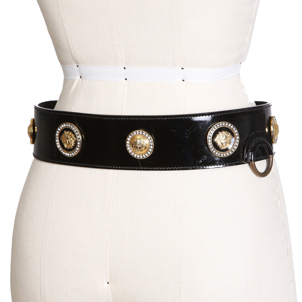 Patent Leather Belt with Medusa Medallions