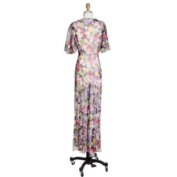 Vintage 1940s Floral Chiffon Gown