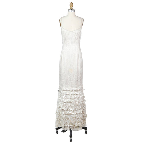 Beaded Fringe Gown with Tiered Frays