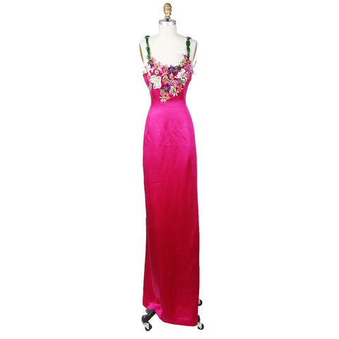 Fuchsia Silk Gown with Sculptural Beaded Floral Neckline