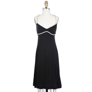 Black Baby Doll Dress with Jeweled Straps
